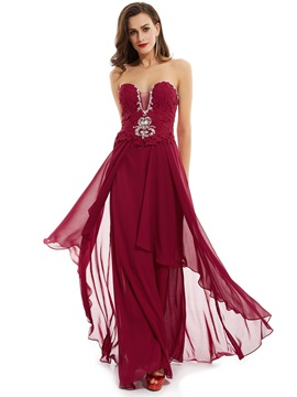 Sweetheart Lace-Up Beaded A Line Evening Dress & Under $100 under 300