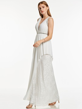 V Neck Backless Beaded Lace A Line Evening Dress & casual Under $100