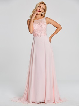 Charming Bateau Neck Beaded Appliques A Line Evening Dress & romantic Under $100