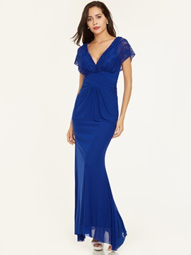 V Neck Zipper-Up Lace Pleats Evening Dress & quality Under $100