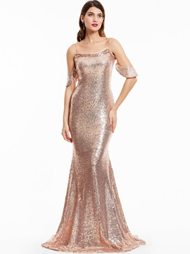 Spaghetti Straps Sequins Mermaid Evening Dress & unusual Under $100