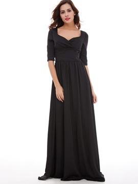 Square Neck Half Sleeves A Line Evening Dress & cheap Under $100