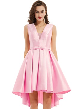 V Neck Zipper-Up Bowknot A Line Evening Dress & discount Under $100