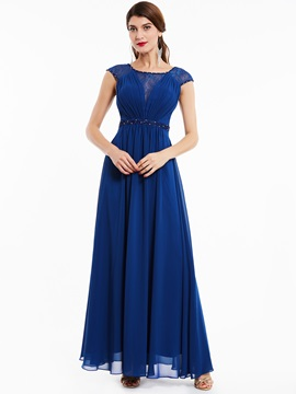 Scoop Neck Beaded A Line Evening Dress & quality Under $100