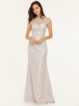 Scoop Neck Zipper-Up Beaded Lace Sheath Evening Dress & unusual Under $100