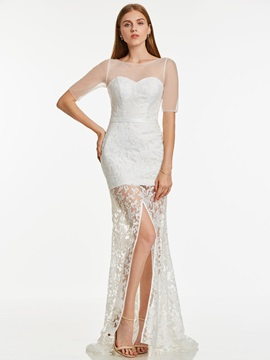 Scoop Neck Short Sleeves Lace Sheath Evening Dress & colored Under $100