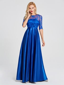 Scoop Neck Half Sleeves Lace A Line Evening Dress & informal Under $100