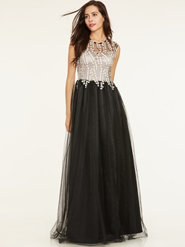 Scoop Neck Appliques A Line Evening Dress & Under $100 for less