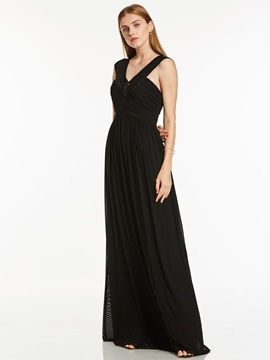A-Line V-Neck Ruched Crystal Evening Dress & Under $100 under 100