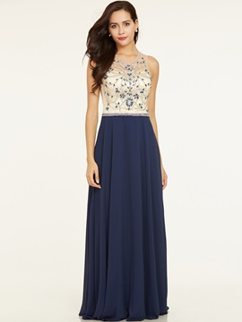 Scoop Neck Backless Beaded A Line Evening Dress & fashion Under $100