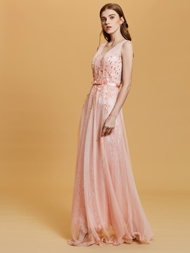 V Neck Backless Sequins A Line Prom Dress & Under $100 from china