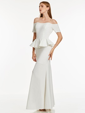 Elegant Off-the-Shoulder Sheath Short Sleeves Ruffles Floor-Length Evening Dress & Under $100 under 100