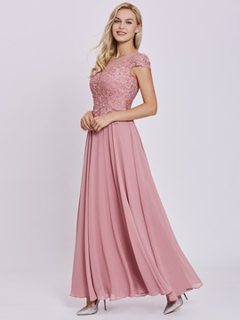 Charming Scoop Lace Appliques A-Line Prom Dress & unique Under $100