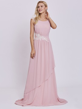 Scoop Appliques A Line Long Evening Dress & simple Under $100