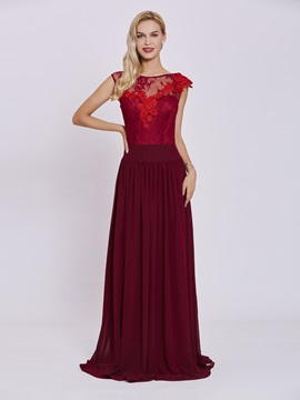Scoop Neck Zipper-Up Appliques A Line Evening Dress & elegant Under $100