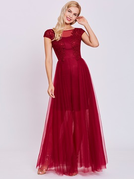 Elegant Scoop Neck Lace Appliques A Line Evening Dress & inexpensive Under $100