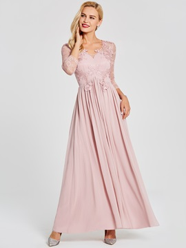 Modern V Neck Long Sleeves Lace Appliques Prom Dress & modest Under $100