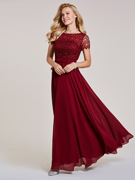 Scoop Neck Short Sleeves Lace Evening Dress & unique Under $100