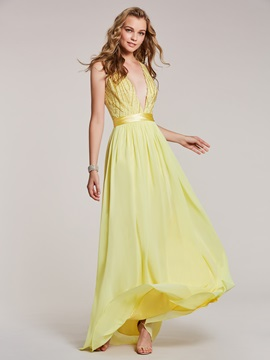 V Neck Beaded A Line Prom Dress & fashion Under $100
