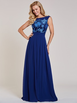Bateau Neck Appliques A Line Evening Dress & formal Under $100