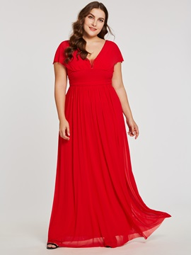 V Neck Zipper-Up A Line Red Evening Dress & Under $100 from china