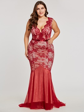 Backless Trumpet V-Neck Lace Floor-Length Evening Dress & Under $100 for less