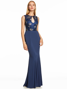 Scoop Neck Backless Ruffles Mermaid Evening Dress & attractive Under $100