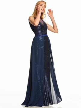Scoop Sequins A Line Evening Dress & Under $100 online