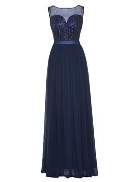 Scoop Neck Sequins A Line Prom Dress & petite Under $100