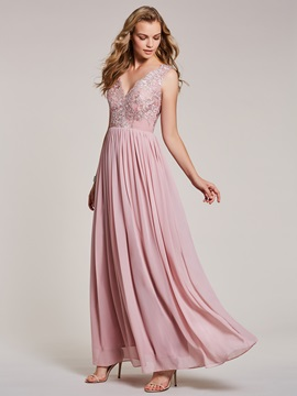 V Neck Lace Appliques A Line Evening Dress