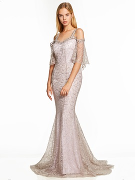 Straps Backless Lace Mermaid Evening Dress