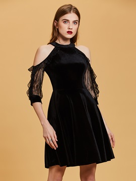 Scoop Neck Cold Shoulders A Line Velvet Cocktail Dress