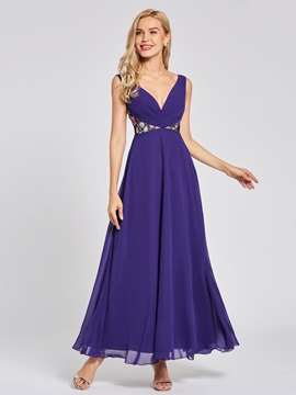 V Neck Embroidery A Line Evening Dress & colored Under $100