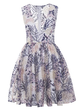 V Neck Printed A Line Cocktail Dress & vintage style Under $100