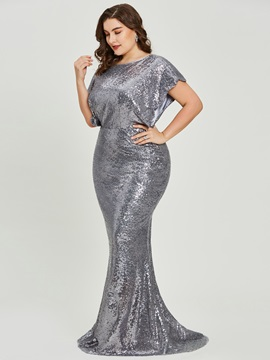Short Sleeves Scoop Neck Sequins Mermaid Evening Dress & cheap Under $100