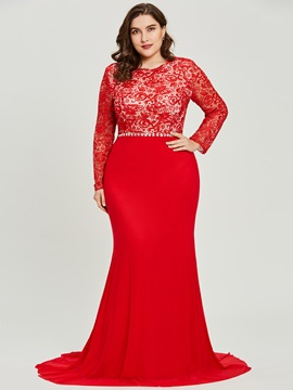 Long Sleeves Scoop Neck Lace Mermaid Evening Dress & colorful Under $100