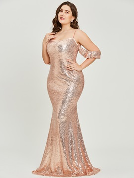 Spaghetti Straps Sequins A Line Plus Size Prom Dress & Under $100 under 500