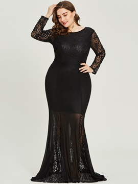 Long Sleeves Mermaid Scoop Plus Size Evening Dress