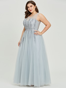 Scoop Neck Beading A Line Plus Size Prom Dress & Under $100 under 500