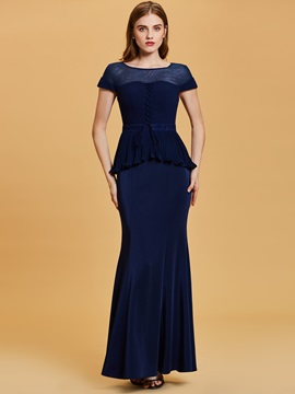 Scoop Neck Short Sleeves Mermaid Evening Dress & vintage style Under $100