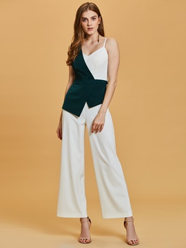 One Shoulder Contrast Color Ankle-Length Jumpsuits & attractive Under $100
