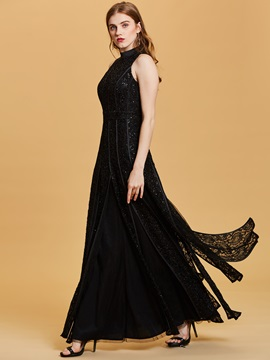 Scoop Neck Sequins A Line Evening Dress & Under $100 from china