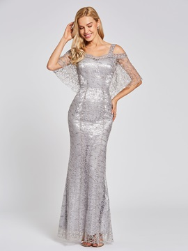 Open Shoulder Mermaid Lace Evening Dress