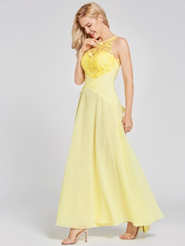 Scoop Neck Lace Appliques A Line Prom Dress & vintage Under $100