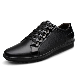 Black Patchwork Plain-Toe Lace-Up Derbies