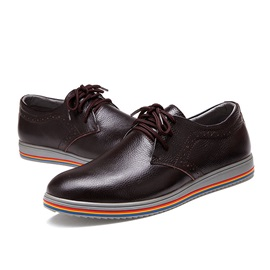 Colored Sole Round Toe Lace-Up Men's Brogues