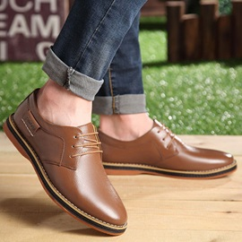 British PU Plain Toe Lace-Up Dress Shoes