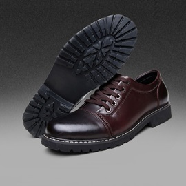 Thread Round Toe Lace-Up Men's Dress Shoes