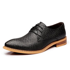British Pointed Toe Embossed Men's Dress Shoes