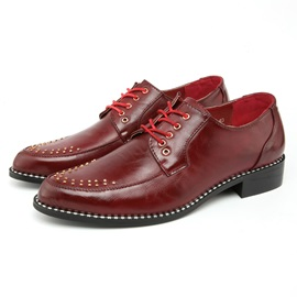 Studded Round Toe Lace-Up Men's Dress Shoes